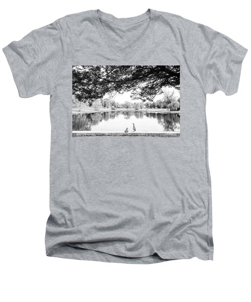 Men's V-Neck T-Shirt featuring the photograph Two At The Pond by Karol Livote