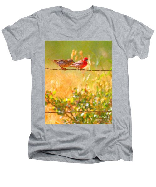 Two Birds On A Wire Men's V-Neck T-Shirt