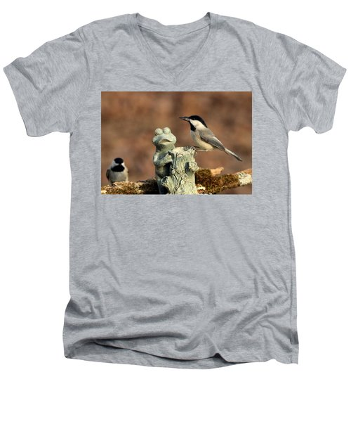 Two Black-capped Chickadees And Frog Men's V-Neck T-Shirt by Sheila Brown