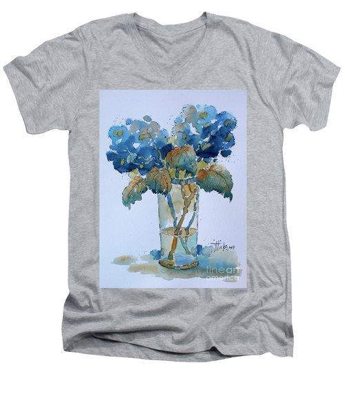 Two Blue Hydrangea Men's V-Neck T-Shirt