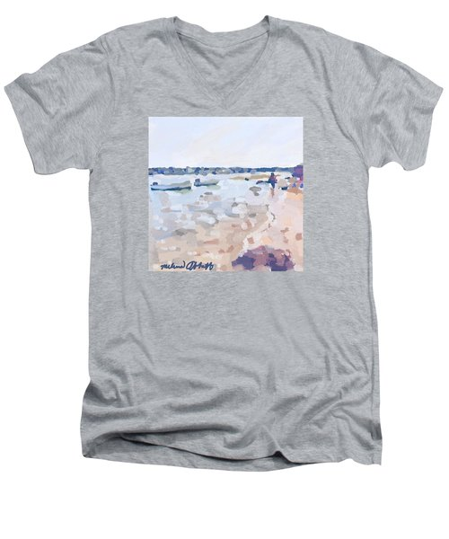 Two Boats At Ten Pound Island Beach Men's V-Neck T-Shirt by Melissa Abbott