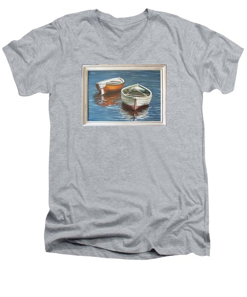 Two Boats Men's V-Neck T-Shirt by Natalia Tejera