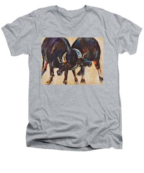 Two Bulls Fighting Men's V-Neck T-Shirt