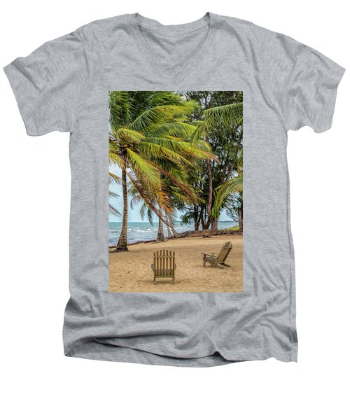 Two Chairs In Belize Men's V-Neck T-Shirt