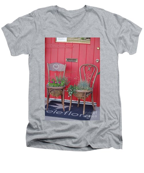 Two Chairs With Plants Men's V-Neck T-Shirt
