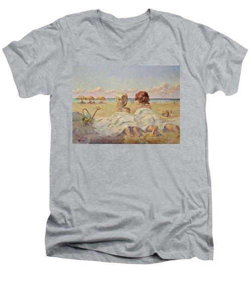 Two Children On The Beach Men's V-Neck T-Shirt