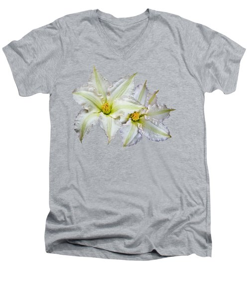 Men's V-Neck T-Shirt featuring the photograph Two Clematis Flowers On Pale Purple by Jane McIlroy