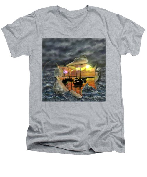 Men's V-Neck T-Shirt featuring the digital art Two Climates by Darren Cannell