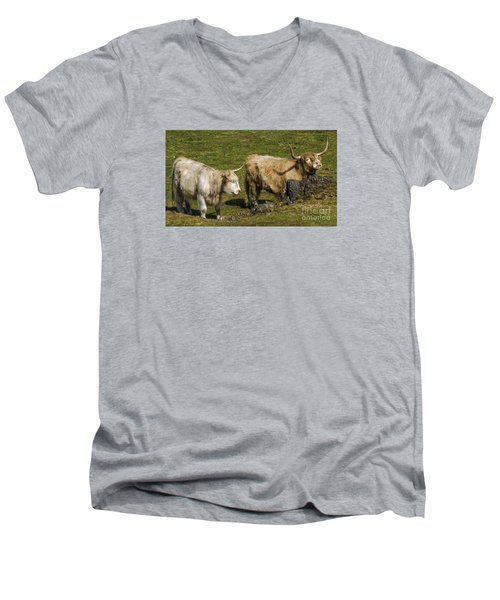 Two Coos Men's V-Neck T-Shirt by Linsey Williams