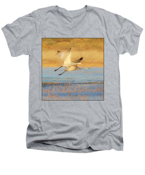 Two Cranes Cruising Men's V-Neck T-Shirt