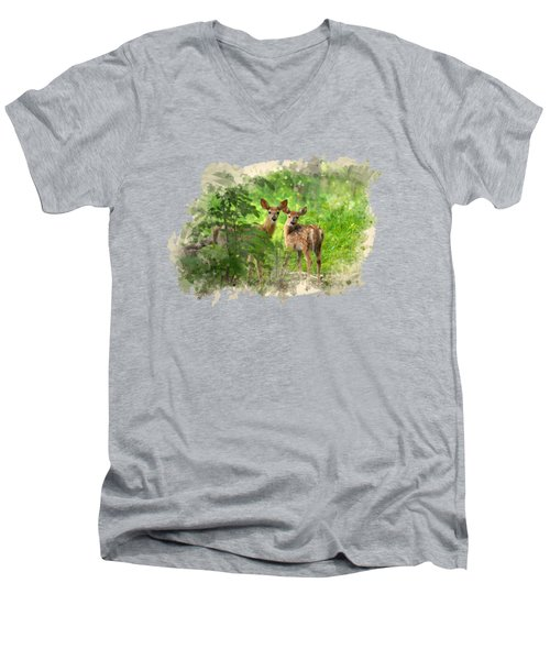 Men's V-Neck T-Shirt featuring the mixed media Two Deer Fawns Watercolor Art by Christina Rollo