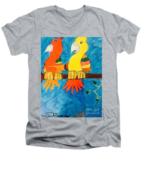 Two Double Yelloe Headed Birds Men's V-Neck T-Shirt