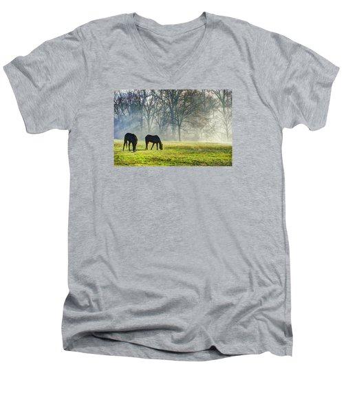 Two Horse Morning Men's V-Neck T-Shirt