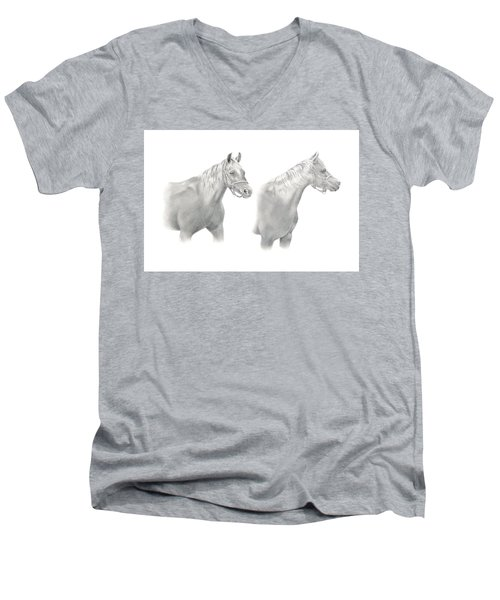 Men's V-Neck T-Shirt featuring the drawing Two Horse Study by Elizabeth Lock