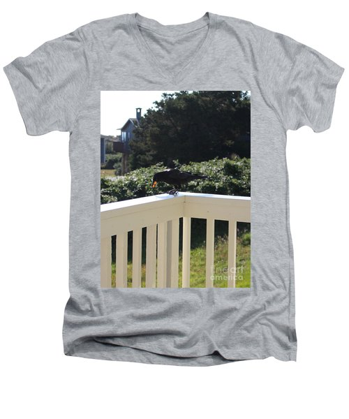Men's V-Neck T-Shirt featuring the photograph Two In The Beak by Marie Neder