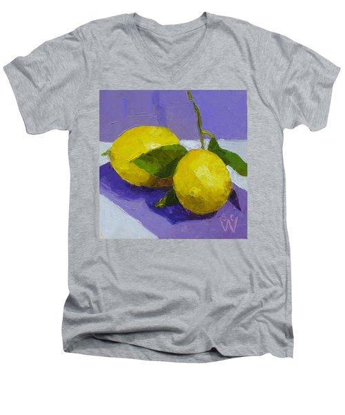 Two Lemons Men's V-Neck T-Shirt by Susan Woodward