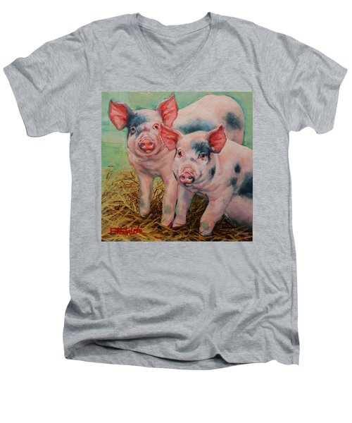 Men's V-Neck T-Shirt featuring the painting Two Little Pigs  by Margaret Stockdale