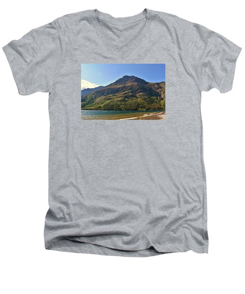 Men's V-Neck T-Shirt featuring the photograph Two Medicine Lake by Dacia Doroff