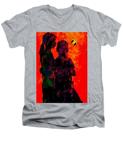 Men's V-Neck T-Shirt featuring the digital art Two Of Us by Bliss Of Art