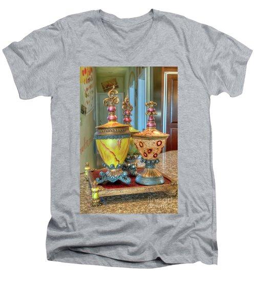 Two Ornate Colorful Vases Or Urns Art Prints Men's V-Neck T-Shirt
