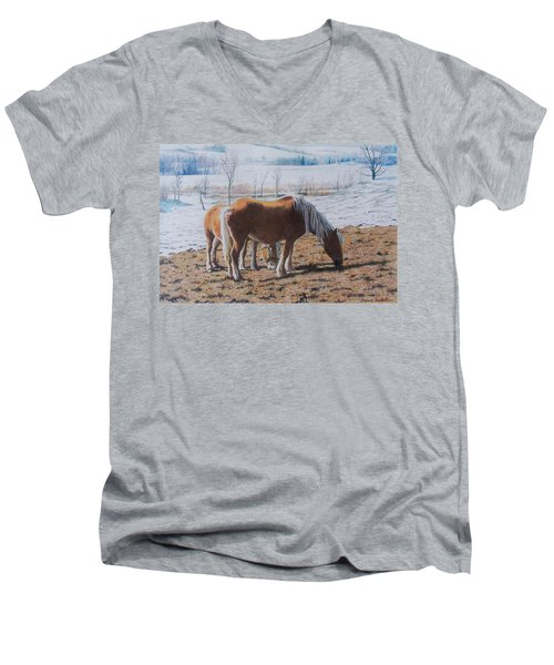 Two Ponies In The Snow Men's V-Neck T-Shirt
