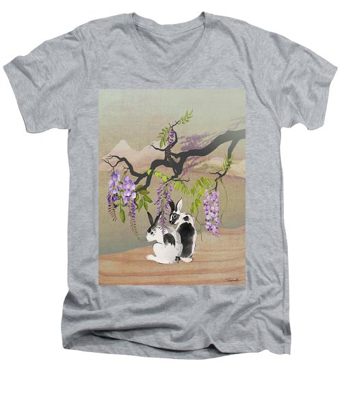 Two Rabbits Under Wisteria Tree Men's V-Neck T-Shirt