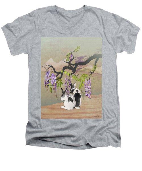 Two Rabbits Under Wisteria Tree Men's V-Neck T-Shirt