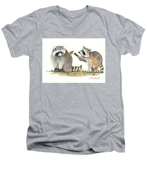 Two Raccoons Men's V-Neck T-Shirt by Juan Bosco