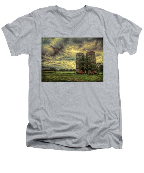 Men's V-Neck T-Shirt featuring the photograph Two Silos by Lewis Mann
