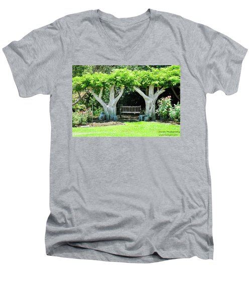 Men's V-Neck T-Shirt featuring the photograph Two Tall Trees, Paradise, Romantic Spot by Gandz Photography