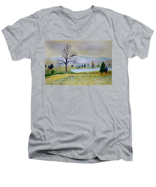 Two Tracking Men's V-Neck T-Shirt by Dick Bourgault