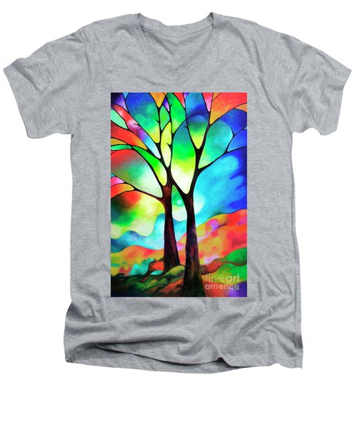 Two Trees Men's V-Neck T-Shirt by Sally Trace