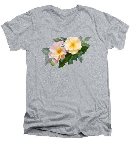 Men's V-Neck T-Shirt featuring the painting Two Wild Roses by Ivana Westin