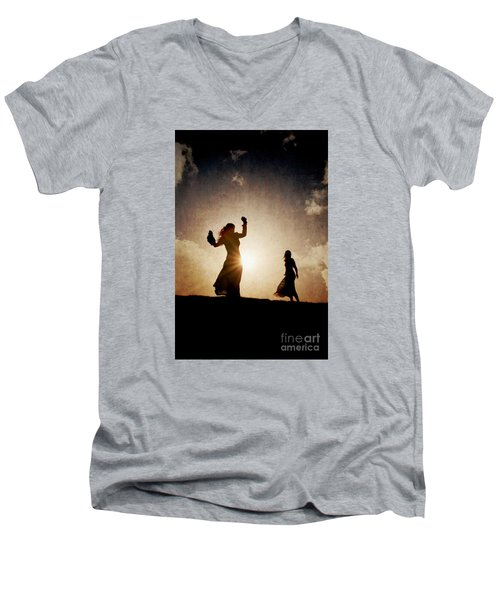 Two Women Dancing At Sunset Men's V-Neck T-Shirt