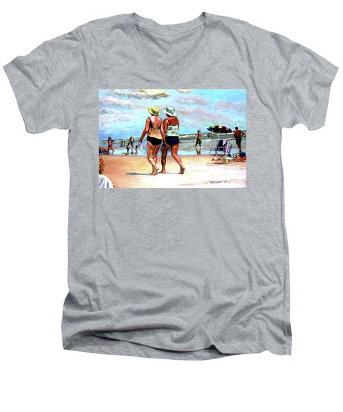 Men's V-Neck T-Shirt featuring the painting Two Women Walking On The Beach by Stan Esson