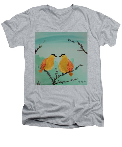 Two Yellow Chickadees Men's V-Neck T-Shirt