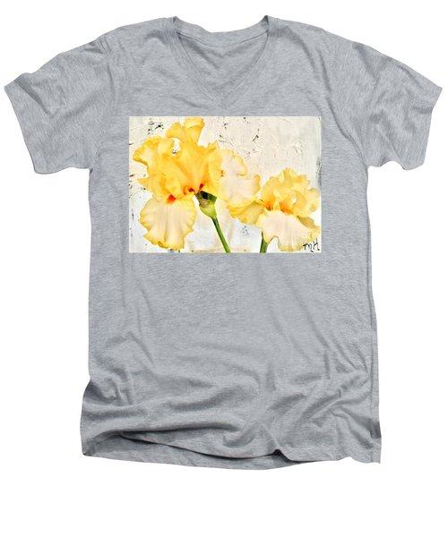 Two Yellow Irises Men's V-Neck T-Shirt by Marsha Heiken
