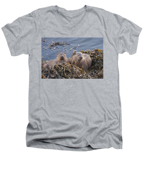 Two Young European Otters Men's V-Neck T-Shirt