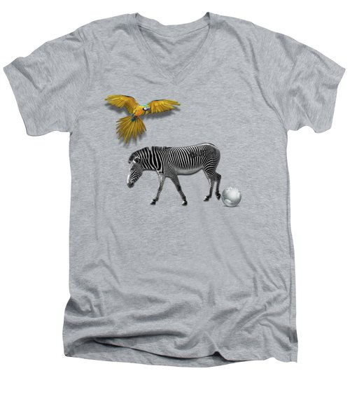 Two Zebras And Macaw Men's V-Neck T-Shirt