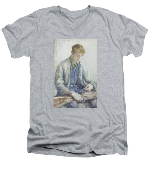Tying The Sail Men's V-Neck T-Shirt by Henry Scott Tuke
