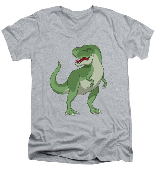 Tyrannosaurus Rex Dinosaur Green Men's V-Neck T-Shirt
