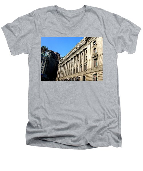 U S Custom House 1 Men's V-Neck T-Shirt by Randall Weidner
