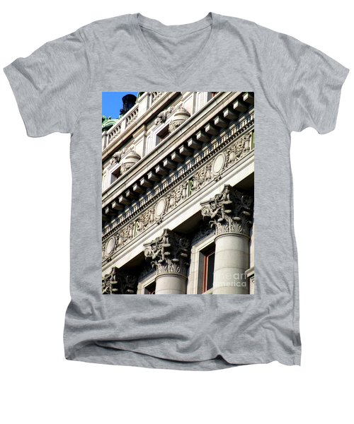 U S Custom House 2 Men's V-Neck T-Shirt by Randall Weidner