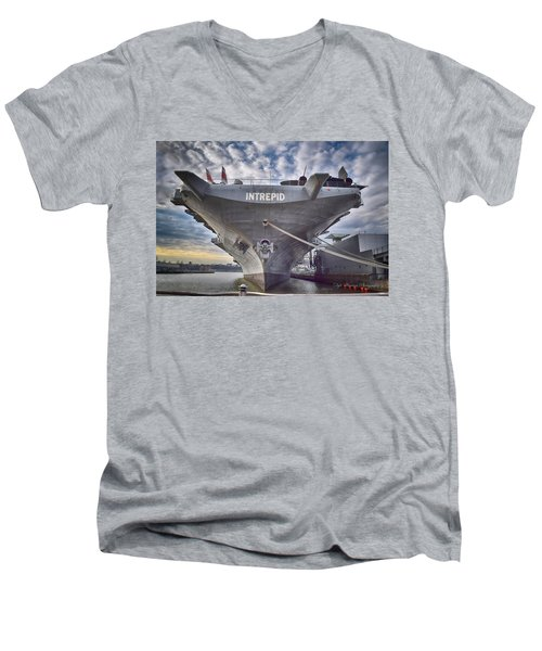 U S S   Intrepid's Bow  Men's V-Neck T-Shirt