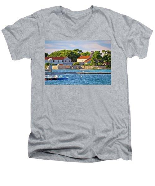 Ugljan Island Village Old Church And Beach View Men's V-Neck T-Shirt