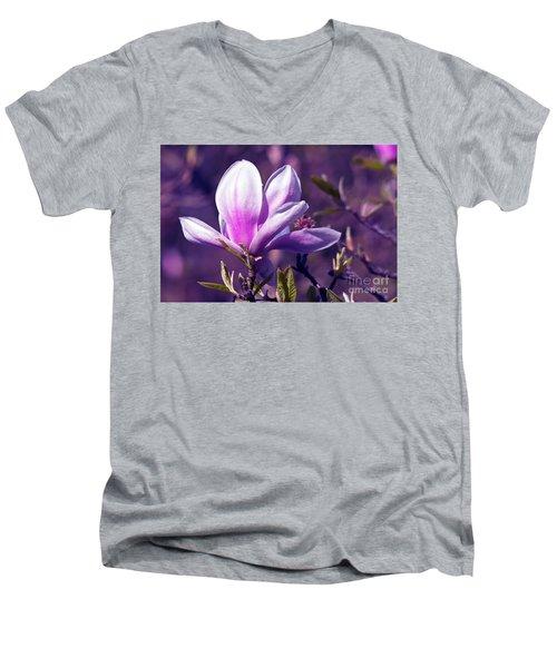 Ultra Violet Magnolia  Men's V-Neck T-Shirt