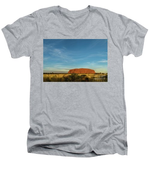 Men's V-Neck T-Shirt featuring the photograph Uluru Sunset 01 by Werner Padarin