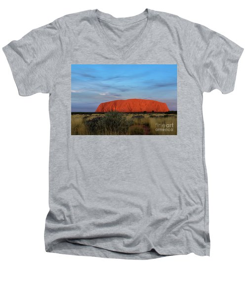 Men's V-Neck T-Shirt featuring the photograph Uluru Sunset 03 by Werner Padarin