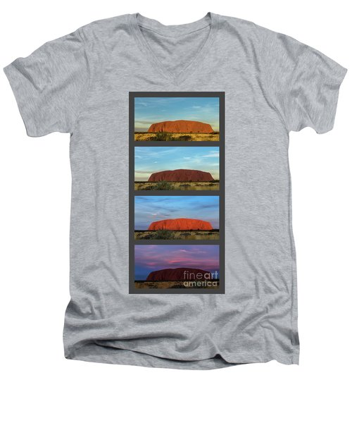Men's V-Neck T-Shirt featuring the photograph Uluru Sunset by Werner Padarin