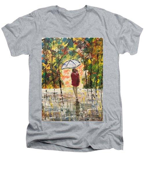 Umbrella Girl Men's V-Neck T-Shirt